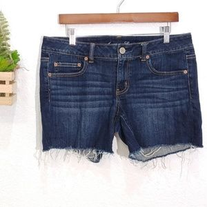 American Eagle stretch shorts dark raw hem size 12